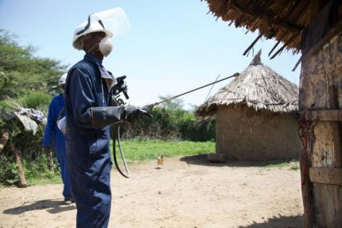 During an indoor residual spraying (IRS) campaign, workers visit households and spray insecticide to prevent mosquitos.
