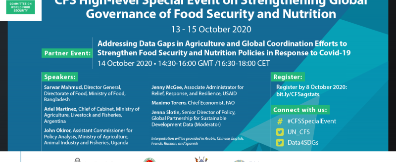 "Committee for World Food Security side event, ""Addressing Data Gaps in Agriculture and Global Coordination Efforts to Strengthen Food Security and Nutrition Policies in Response to COVID-19"""
